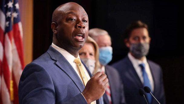 PHOTO: Sen. Tim Scott is joined by fellow Republican lawmakers for a news conference to unveil the GOP's legislation to address racial disparities in law enforcement at the U.S. Capitol, June 17, 2020, in Washington, D.C. (Chip Somodevilla/Getty Images)