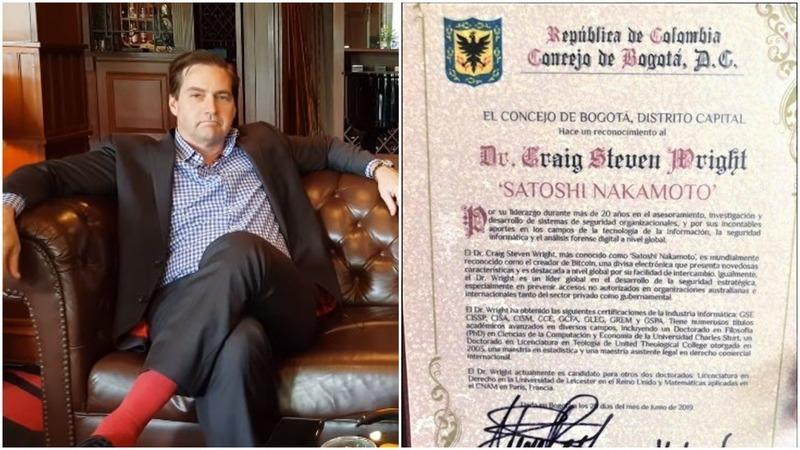 Self-proclaimed bitcoin inventor Craig Wright was officially recognized as Satoshi Nakamoto by the city of Bogota, Colombia. | Source: YouTube. Image Edited by CCN.