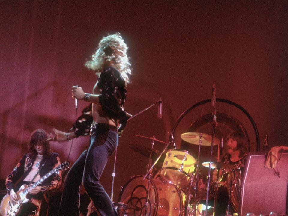<p>Page, Plant and Bonham performing during Led Zeppelin's 1977 tour</p>Getty Images