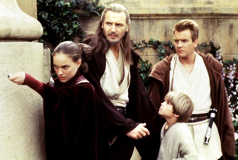 From left, Natalie Portman, Liam Neeson, Jake Lloyd and Ewan McGregor