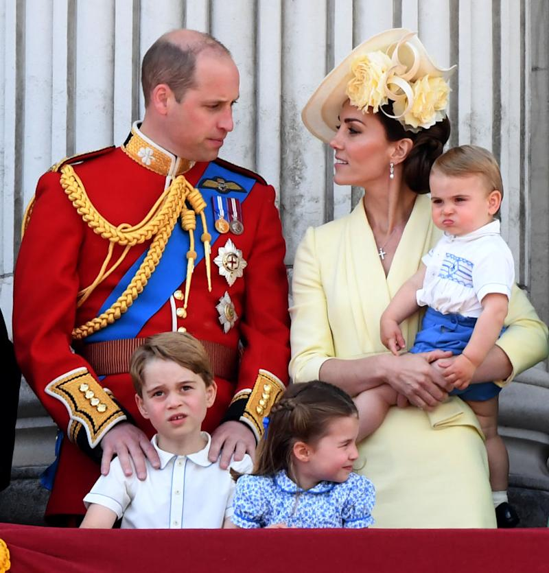 Prince William, Duke of Cambridge, Catherine, Duchess of Cambridge, Prince Louis of Cambridge, Prince George of Cambridge and Princess Charlotte of Cambridge stand on the balcony of Buckingham Palace following Trooping the Colour on June 08, 2019 in London, England.