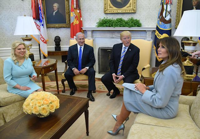 <p>On 5 March, Israel's prime minister Benjamin Netanyahu paid a visit to the White House and for the occasion, Melania donned a sky blue coat by Max Mara. <em>[Photo: Getty]</em> </p>