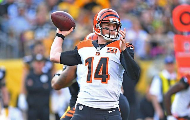"""Can <a class=""""link rapid-noclick-resp"""" href=""""/nfl/players/24822/"""" data-ylk=""""slk:Andy Dalton"""">Andy Dalton</a> deliver for desperate fantasy owners in Week 8? Yahoo fanalyst Liz Loza digs his matchup."""