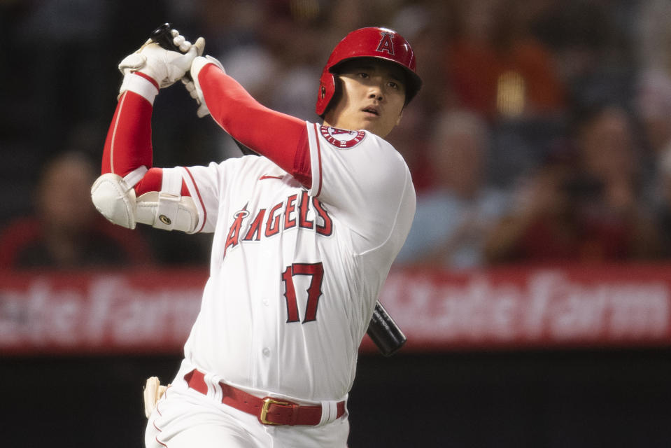 Los Angeles Angels' Shohei Ohtani during a baseball game against the Detroit Tigers in Anaheim, Calif., Saturday, June 19, 2021. (AP Photo/Kyusung Gong)