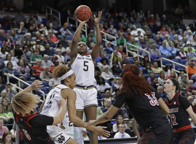 Notre Dame's Jackie Young (5) shoots against Louisville during the second half of an NCAA college basketball game in the championship of the Atlantic Coast Conference women's tournament in Greensboro, N.C., Sunday, March 10, 2019. Young was named the tournament's MVP. (AP Photo/Chuck Burton)