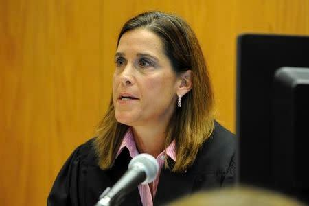 Superior Court Judge Barbara Bellis during a hearing to hear arguments brought to dismiss a wrongful death lawsuit against rifle maker Remington Arms, over the Sandy Hook Elementary School massacre in Bridgeport, Connecticut, June 20, 2016. REUTERS/Ned Gerard/Hearst Connecticut Media/Pool/File photo