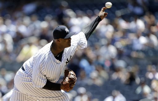 New York Yankees starting pitcher CC Sabathia delivers in the first inning of a baseball game against the Cleveland Indians at Yankee Stadium in New York, Wednesday, June 5, 2013. (AP Photo/Kathy Willens)