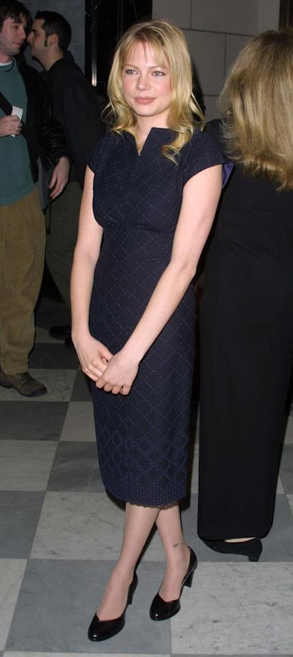 """Golden Globe winner Michelle Williams is a fashion favorite who never seems to make a wrong move. True to form, she held her own at a 2002 celebration for """"Dawson's Creek."""""""