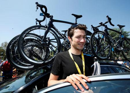 FILE PHOTO:  Team Sky rider sport manager Nicolas Portal poses before the start of the 197 km tenth stage of the centenary Tour de France cycling race from Saint-Gildas-des-Bois to Saint-Malo July 9, 2013.      REUTERS/Eric Gaillard/File Photo