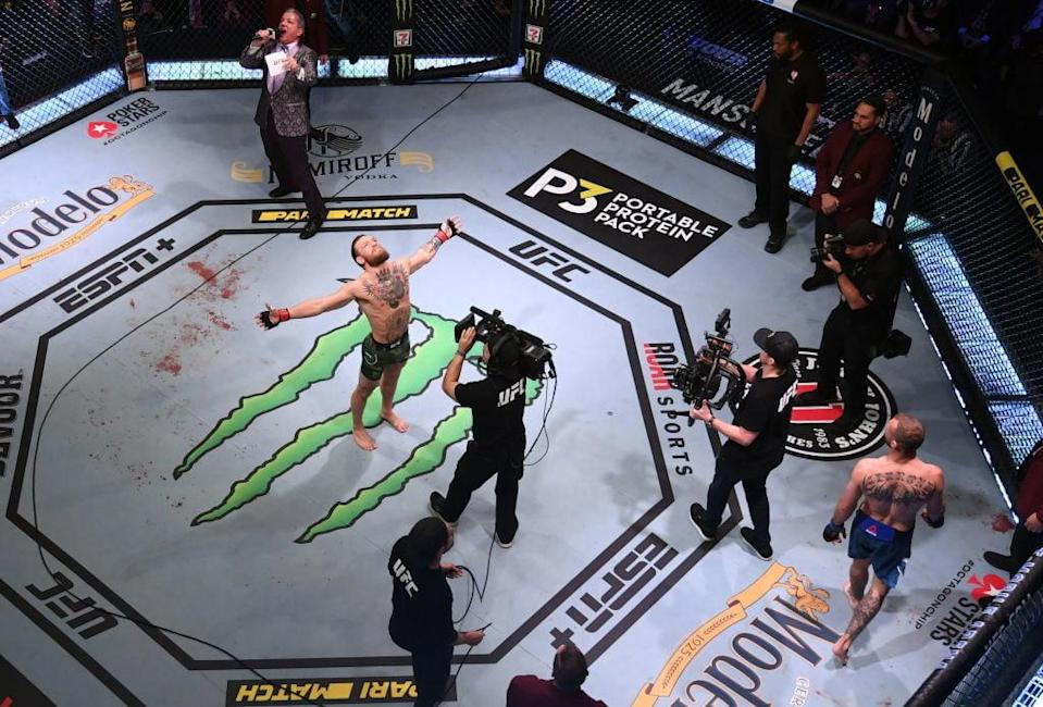 """<span class=""""text"""">An overhead view of the octagon during the UFC 246 event at T-Mobile Arena on January 18, 2020 in Las Vegas, Nevada.</span> <span class=""""credit"""">Josh Hedges/Zuffa LLC via Getty Images</span>"""