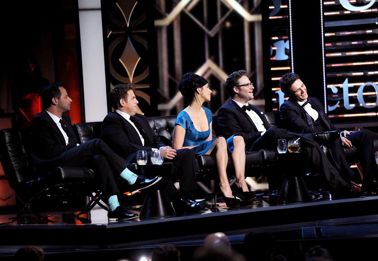 CULVER CITY, CA - AUGUST 25: (L-R) Comedian Nick Kroll, actor Jonah Hill, comedienne Sarah Silverman, Roast Master Seth Rogen and roastee James Franco onstage during The Comedy Central Roast of James Franco at Culver Studios on August 25, 2013 in Culver City, California. The Comedy Central Roast Of James Franco will air on September 2 at 10:00 p.m. ET/PT. (Photo by Kevin Winter/Getty Images for Comedy Central)