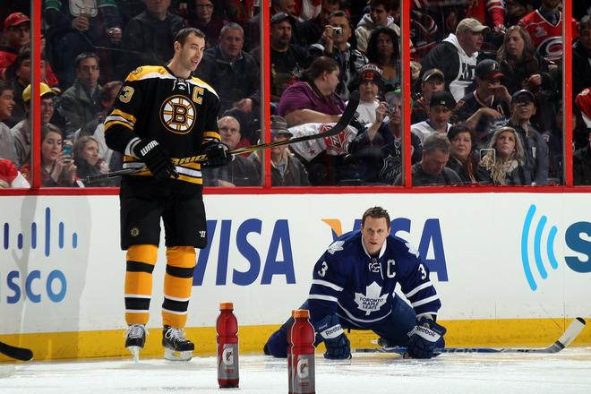OTTAWA, ON - JANUARY 28:  Zdeno Chara #33 of the Boston Bruins and Team Chara stands as Dion Phaneuf #3 of the Toronto Maple Leafs and team Chara kneels on the ice during the 2012 Molson Canadian NHL All-Star Skills Competition at Scotiabank Place on January 28, 2012 in Ottawa, Ontario, Canada.  (Photo by Bruce Bennett/Getty Images)
