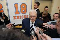 NEW YORK, NY - April 5: Phil Jackson of the 1973 Championship New York Knicks team during a press conference before a game between the Milwaukee Bucks and the New York Knicks on April 5, 2013 at Madison Square Garden in New York City. (Photo by Nathaniel S. Butler/NBAE via Getty Images)
