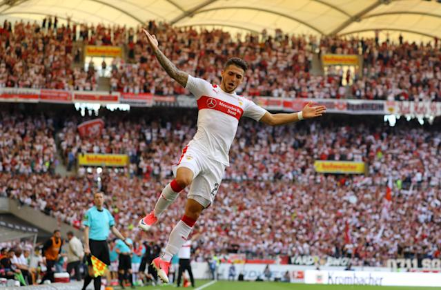 Football Soccer - VfB Stuttgart v Wurzburger Kickers - 2. Bundesliga - Mercedes-Benz Arena, Stuttgart, Germany - 21/5/17 VfB Stuttgart's Matthias Zimmermann celebrates scoring their first goal Reuters / Kai Pfaffenbach Livepic DFL RULES TO LIMIT THE ONLINE USAGE DURING MATCH TIME TO 15 PICTURES PER GAME. IMAGE SEQUENCES TO SIMULATE VIDEO IS NOT ALLOWED AT ANY TIME. FOR FURTHER QUERIES PLEASE CONTACT DFL DIRECTLY AT + 49 69 650050.