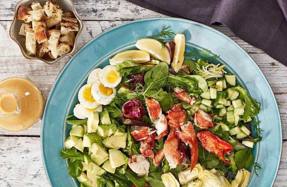 """<p>Add a summertime flair to your cobb salads — which traditionally include bacon and chicken — by <a href=""""https://www.thedailymeal.com/how-eat-lobster?referrer=yahoo&category=beauty_food&include_utm=1&utm_medium=referral&utm_source=yahoo&utm_campaign=feed"""" rel=""""nofollow noopener"""" target=""""_blank"""" data-ylk=""""slk:using fresh lobster"""" class=""""link rapid-noclick-resp"""">using fresh lobster</a> as the protein.</p> <p><a href=""""https://www.thedailymeal.com/recipes/maine-lobster-cobb-salad-recipe?referrer=yahoo&category=beauty_food&include_utm=1&utm_medium=referral&utm_source=yahoo&utm_campaign=feed"""" rel=""""nofollow noopener"""" target=""""_blank"""" data-ylk=""""slk:For the Maine Lobster Cobb Salad recipe, click here."""" class=""""link rapid-noclick-resp"""">For the Maine Lobster Cobb Salad recipe, click here.</a></p>"""