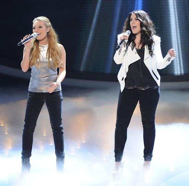 "Janelle Arthur and Kree Harrison perform Madonna's ""Like a Prayer"" on the Wednesday, March 27 episode of ""American Idol."""