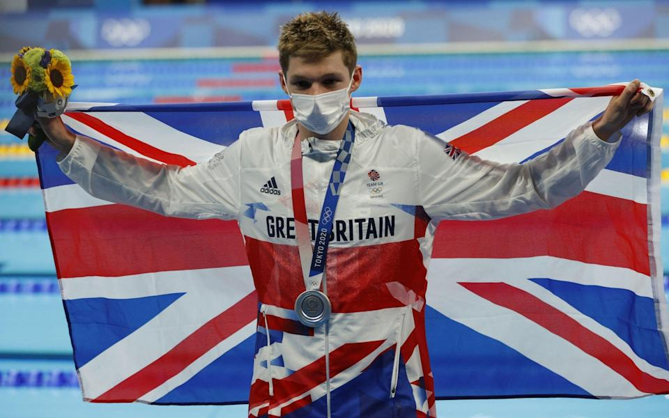 Silver medalist Duncan Scott of Great Britain celebrates during the Men's 200m Individual Medley Final - Shutterstock