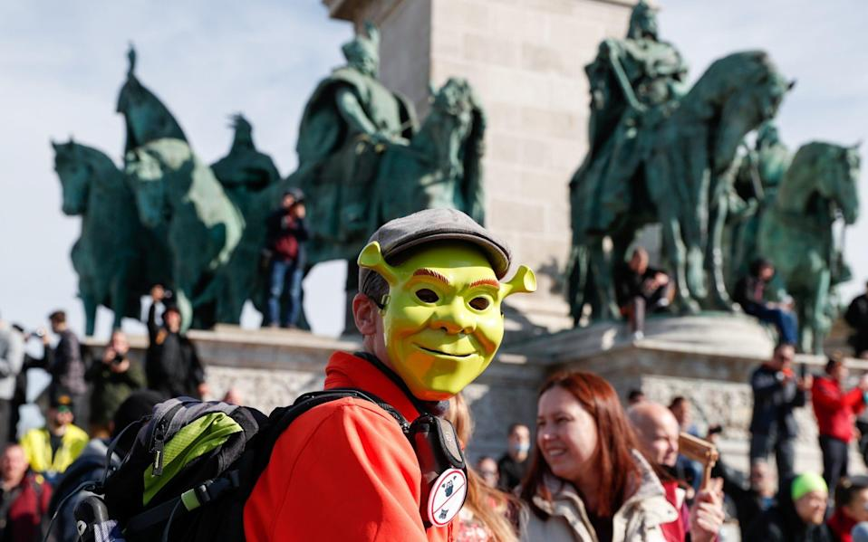 A person wearing a Shrek mask at Sunday's protests -  REUTERS/Bernadett Szabo