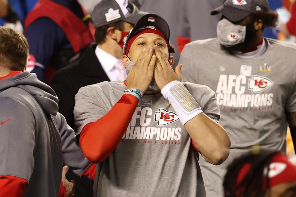 KANSAS CITY, MISSOURI - JANUARY 24: Patrick Mahomes #15 of the Kansas City Chiefs reacts after defeating the Buffalo Bills 38-24 in the AFC Championship game at Arrowhead Stadium on January 24, 2021 in Kansas City, Missouri. (Photo by Jamie Squire/Getty Images)