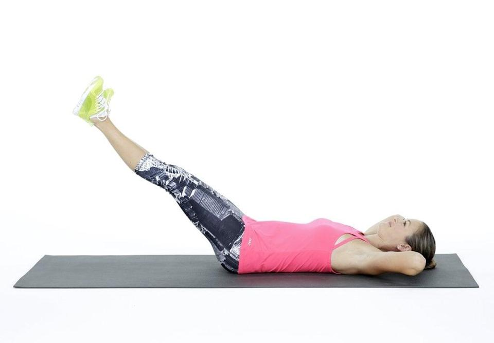 <ul> <li>Lie on your back with your legs stretched out in front of you, your hands on the ground out to the sides or beneath your lower back to make the move a little easier. Pull your abs toward your spine, trying to get your spine and lower back to touch the ground as much as possible.</li> <li>Raise your legs toward the ceiling so they form a 90-degree angle with your upper body, or as close as you can get.</li> <li>Lower your legs back down until they hover about an inch off the floor, or as close as you can get without your lower back lifting off the floor. Keep your neck relaxed and your lower back on the floor.</li> <li>This counts as one rep. Repeat for two sets of 10 reps.</li> </ul>