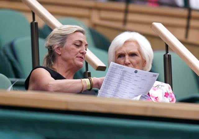 Dame Mary Berry (right) and Annabel Bosher in the Royal Box on Centre Court
