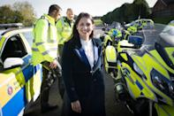 Home Secretary Priti Patel during a visit to Kent Police College in Maidstone, as part of an announcement on police recruitment following previous government pledges to bring in thousands more officers. PA Photo. Picture date: Wednesday October 9, 2019. Police recruitment targets for every force in England and Wales have been announced by the government as part of its pledge to hire 20,000 new officers. In the first wave of the roll-out, the Home Office will provide £750 million to support the 43 forces to recruit up to 6,000 new officers by the end of 2020-21. See PA story POLITICS Policing. Photo credit should read: Stefan Rousseau/PA Wire (Photo by Stefan Rousseau/PA Images via Getty Images)