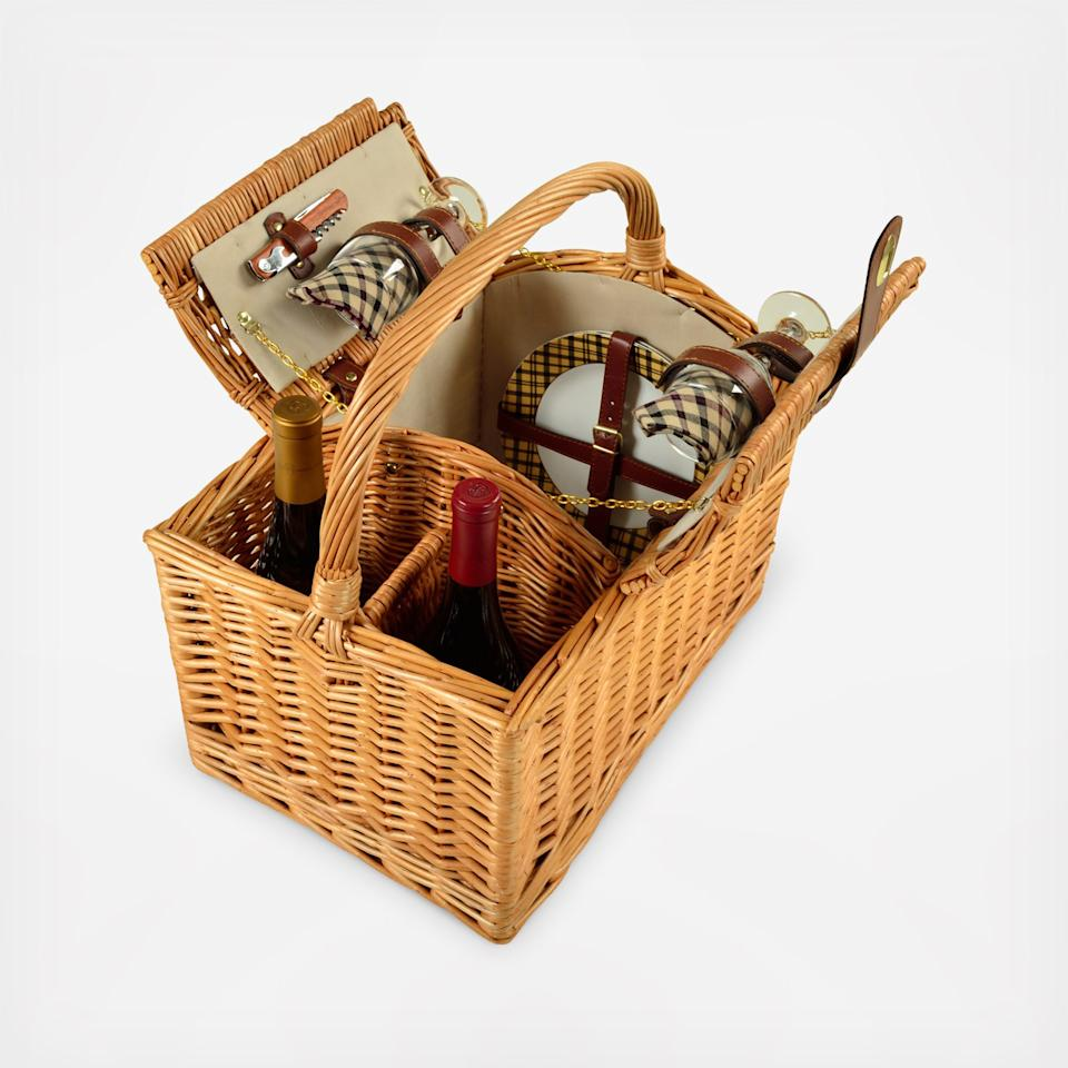 """<p>Make more romantic memories with this hand crafted, fully lined willow picnic basket by Picnic at Ascot. Whether you're laying in the sand or sprawled out on the grass, don't forget to pack a super soft beach towel by <a rel=""""nofollow"""" href=""""https://www.zola.com/shop/product/kassatex_bodrum_beach_towel_coral?utm_source=InStyle&utm_campaign=Relive_Creative_Engagement&utm_medium=Referral"""">Kassatex</a>.</p><p>$110 
