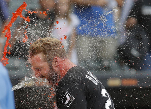 <p>Chicago White Sox's Matt Davidson celebrates after hitting a walkoff home run against the Detroit Tigers during the ninth inning of a baseball game Monday, September 3, 2018, in Chicago. (AP Photo/Jim Young) </p>