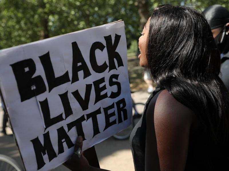 Protesters take part in a 'Black Lives Matter' demonstration on 1 June 2020 in London, England: Photo by Dan Kitwood/Getty Images