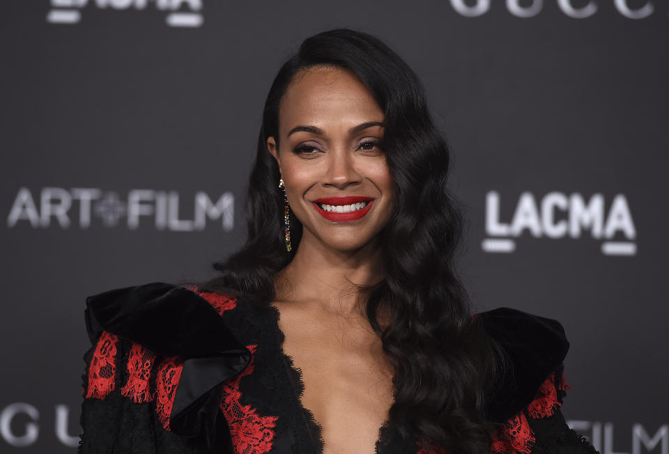 Zoe Saldana arrives at the 2019 LACMA Art and Film Gala at Los Angeles County Museum of Art on Saturday, Nov. 2, 2019, in Los Angeles. (Photo by Jordan Strauss/Invision/AP)