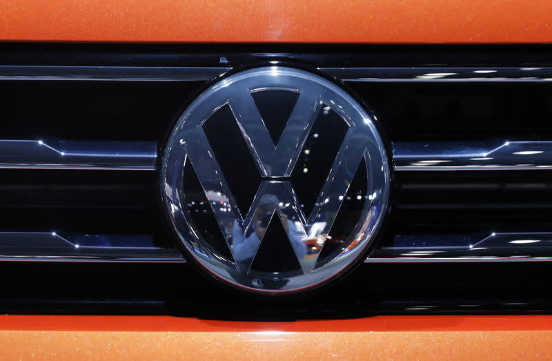 The Volkswagen logo is seen on a vehicle at the New York Auto Show in New York