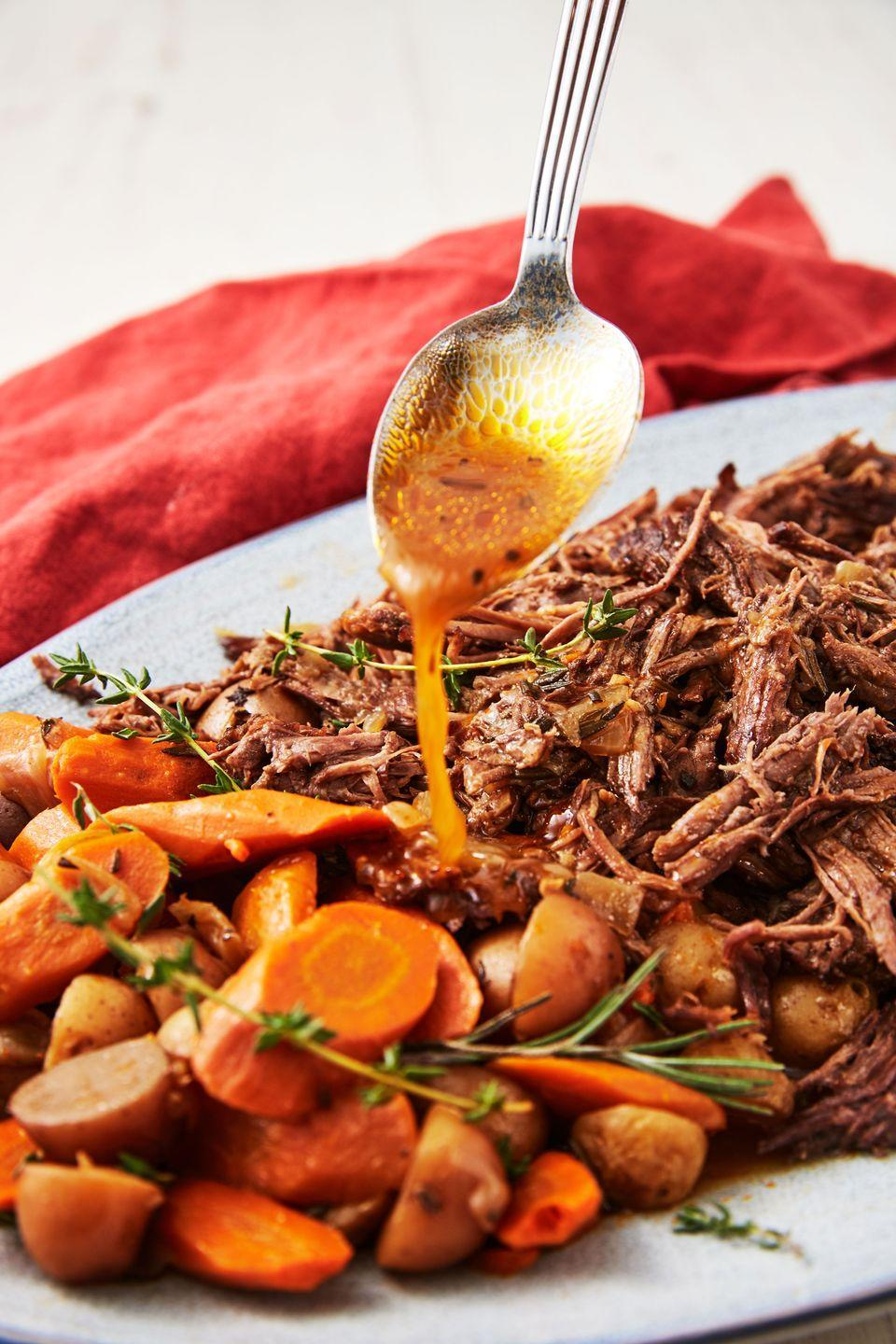 """<p>A roast doesn't always have to take forever. This one is perfectly tender with zero effort and much less time. </p><p>Get the recipe from <a href=""""https://www.delish.com/cooking/recipe-ideas/a25605916/instant-pot-pot-roast-recipe/"""" rel=""""nofollow noopener"""" target=""""_blank"""" data-ylk=""""slk:Delish"""" class=""""link rapid-noclick-resp"""">Delish</a>.</p>"""