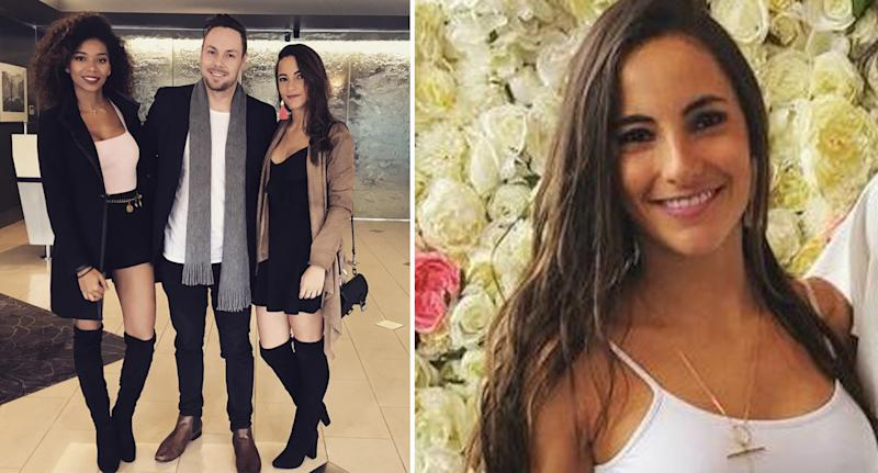 Pictured is Alejandra Jaramillo, who reduced her alcohol consumption, to the right of two friends in a picture on the left, and she is smiling at the camera on a picture on the right.