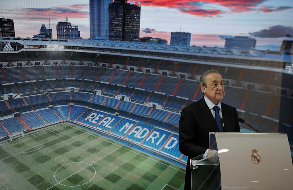 MADRID, SPAIN - JUNE 19: President of Real Madrid Club Florentino Perez makes a speech during a signing ceremony of Real Madrid's new signing from Olympique Lyon, 24-year-old French footballer Ferland Mendy at Santiago Bernabeu Stadium in Madrid, Spain on June 19, 2019.   (Photo by Burak Akbulut/Anadolu Agency/Getty Images)