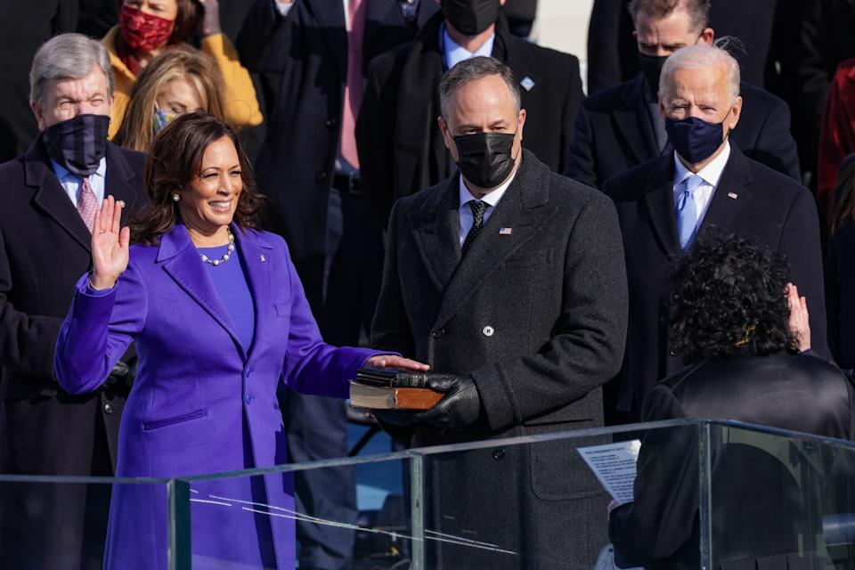 Kamala Harris is sworn as vice president of the United States on January 20, 2021. Depicted with husband Doug Emhoff and President Joe Biden. (Photo: Alex Wong/Getty Images)