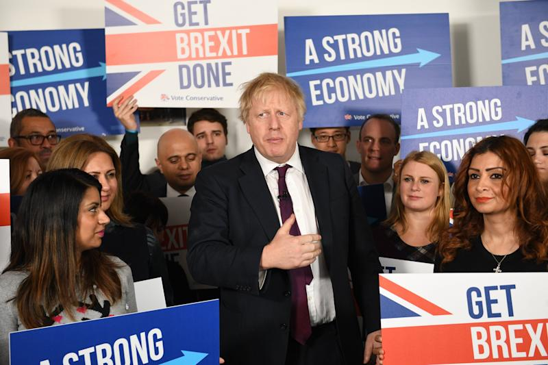 Prime minister Boris Johnson at Conservative Campaign Headquarters Call Centre, London, while on the election campaign trail. (Photo: PA Wire/PA Images)