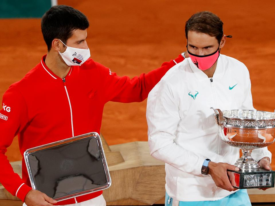 <p>Novak Djokovic (left) and Rafael Nadal contested this year's French Open final</p>Getty