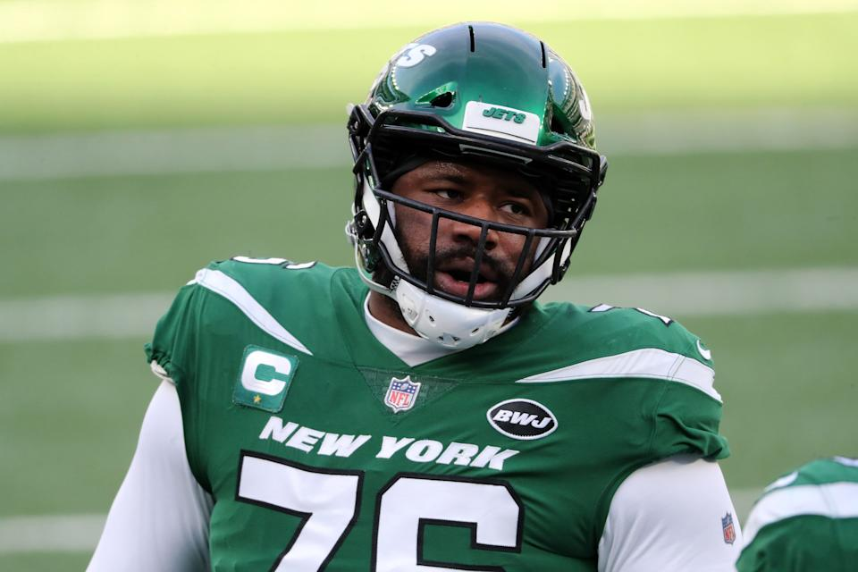 New York Jets offensive tackle George Fant got his football journey started with a big pro-day workout at Western Kentucky. (Photo by Al Pereira/Getty Images)