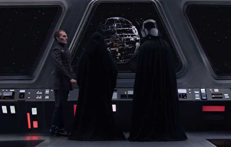 Tarkin, Palpatine, and Vader observe the construction of the Death Star at the end of Revenge of the Sith (Photo: Lucasfilm)