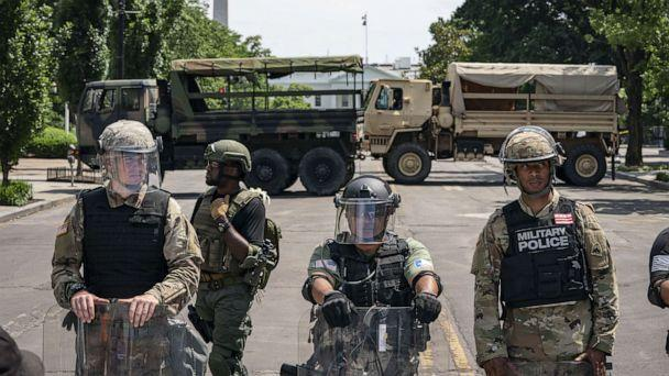PHOTO: Police forces and National Guard vehicles are used to block 16th Street near Lafayette Park and the White House on June 3, 2020. (Drew Angerer/Getty Images)