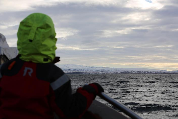 Image:: Captain Heimir Hardarson takes whale watchers out on his boat in Husavik, Iceland. (Carlo Angerer / NBC News)