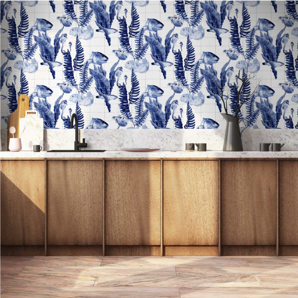 """<p>Wallpaper is an incredibly cost effective way to mimic tiling, and it provides far more design possibilities than tiles can. This Coordonne Bank of Fish wallpaper is perfect for a kitchen or bathroom, mimicking traditional blue and white tiling with realistic inky blue tones and faux weathered grouting. </p><p>Pictured: <a href=""""https://www.beut.co.uk/coordonne-bank-of-fish-wallpaper.html"""" rel=""""nofollow noopener"""" target=""""_blank"""" data-ylk=""""slk:Coordonne Bank of Fish"""" class=""""link rapid-noclick-resp"""">Coordonne Bank of Fish</a>, Beut</p>"""