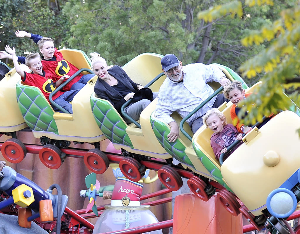 Gwen Stefani and Gavin Rossdale spend quality time with their kids at Disneyland. The gang rode a roller coaster and watched a parade.