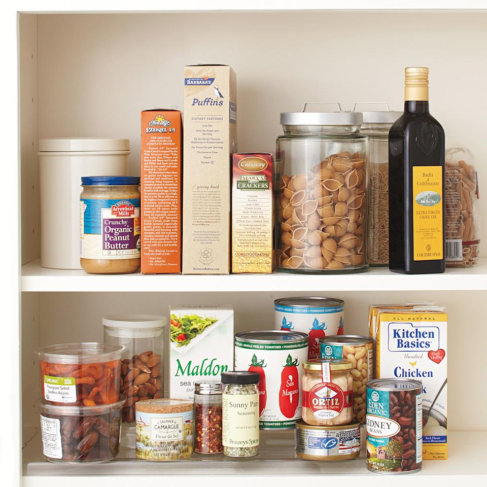 "<p>The first step to a really organized space (whether you're working on your pantry or <a href=""https://www.marthastewart.com/1530618/junk-drawer-organizing-video"">junk drawer</a>) is to take everything off the shelves and assess what you have. That sauce that expired two years ago? It's time to toss it. Go through and edit your items until you have the essentials that need to go back in.</p>"