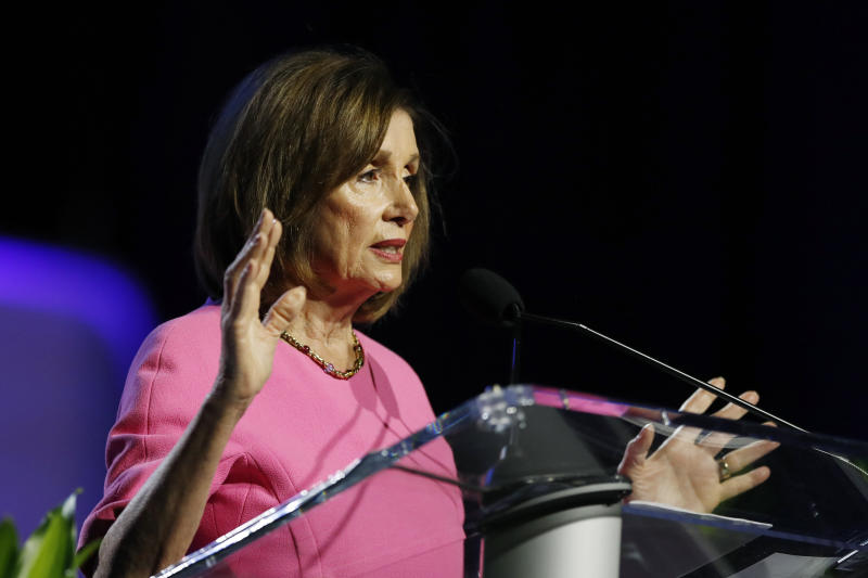 Speaker of the House Nancy Pelosi, D-Calif., addresses the NAACP convention, Monday, July 22, 2019, in Detroit. (AP Photo/Carlos Osorio)