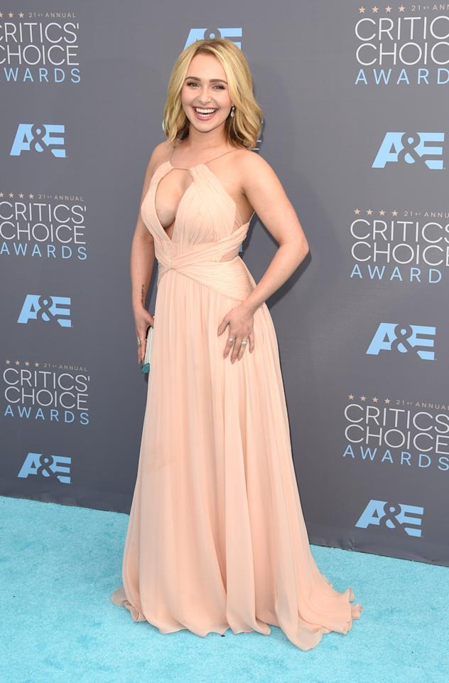 "<p>Hayden Panettiere made a triumphant return to the red carpet Sunday evening at the 2016 Critics' Choice Awards in Santa Monica, California. The ""Nashville"" actress – who voluntarily checked into a treatment facility for postpartum depression last fall – turned heads in peachy-keen Maria Lucia Hohan gown that left little to the imagination. The new mom accessorized with a multitude of rings, a small clutch, and a bright smile.</p>"