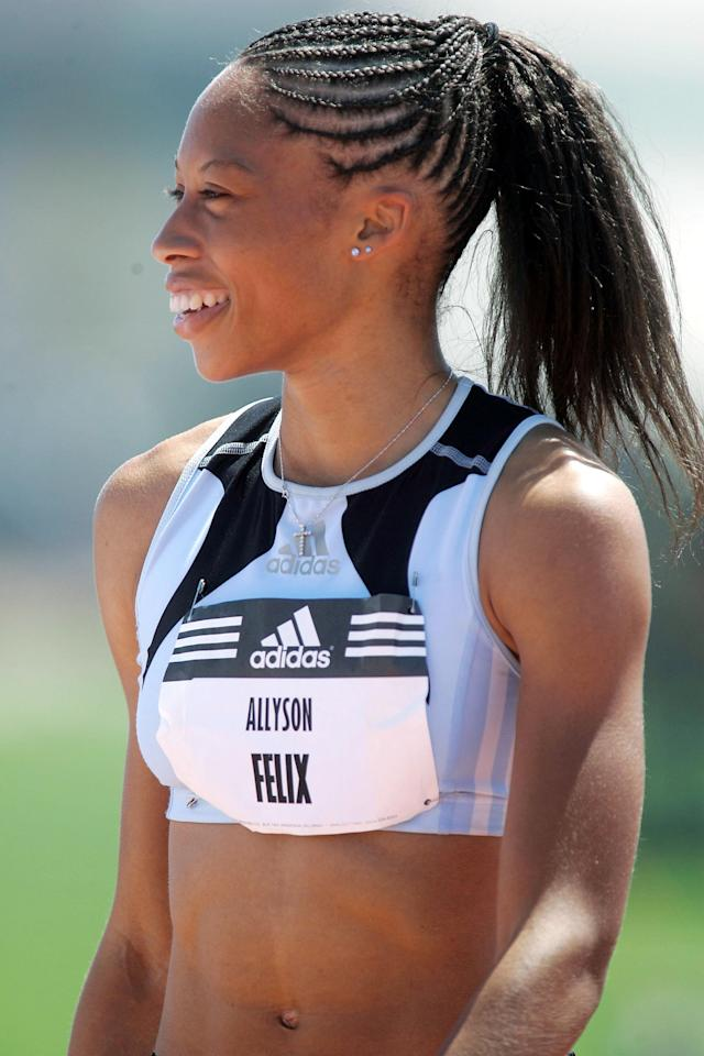CARSON, CA - MAY 22: Allyson Felix prepares for the women's 200 meter run at the Adidas Track Classic on May 22, 2005 at the Home Depot Center in Carson, California. (Photo by Danny Moloshok/Getty Images)