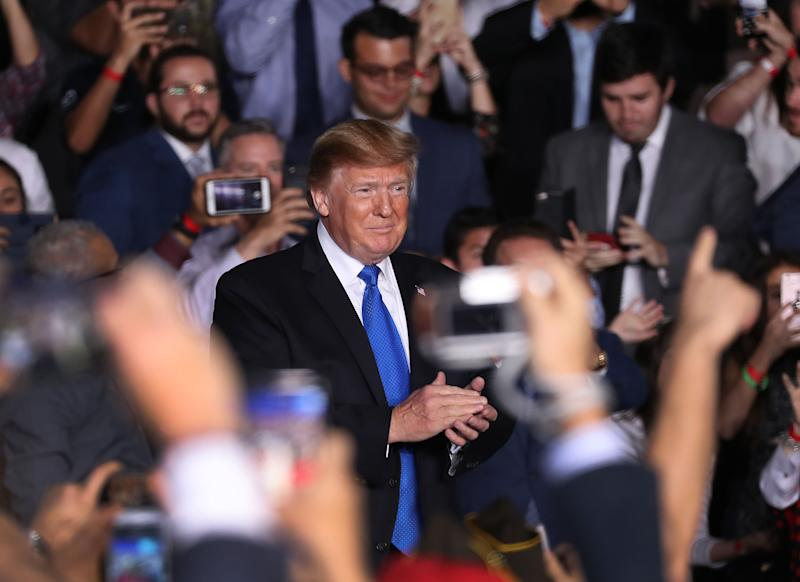 President Donald Trump attends a rally at Florida International University in Miami, Florida. | Joe Raedle—Getty Images