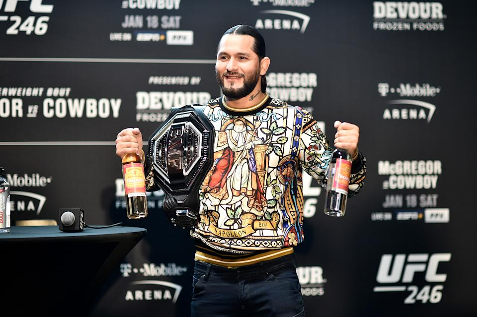 Jorge Masvidal nearly came to blows with Kamaru Usman at Super Bowl Radio Row on Wednesday. (Photo by Chris Unger/Zuffa LLC via Getty Images)