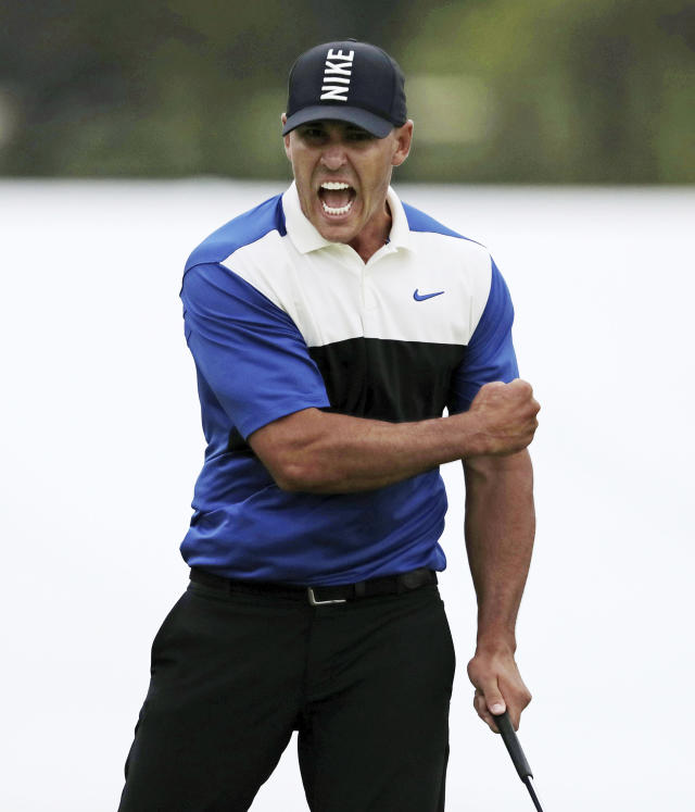 Brooks Koepka reacts after sinking a putt on the 18th green to win the PGA Championship golf tournament, Sunday, May 19, 2019, at Bethpage Black in Farmingdale, N.Y. (AP Photo/Charles Krupa)